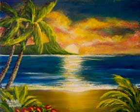 "Hawaii Sunset Art, Hawaii art prints, landscape,"" Diamond Head Sunrise,"" by hawaii Diamond Head Waikiki artist Donald K. Hall #405"