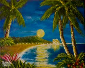 Hawaii Sunset Art, Diamond Head M Original Oil Art Painting #406