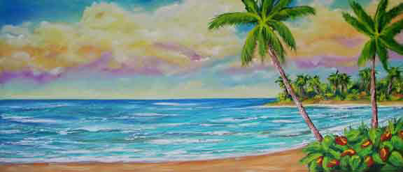 Hawaiian Tropical Beach Original Oil Art Painting and Hawaii Beach Art prints for sale by Hawaii Beach Artist Donald K. Hall  #408