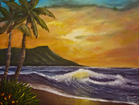 Diamond Head Sunrise Painting Hawaiian art prints, by Diamond Head Waikiki  artist Donald K. Hall #414