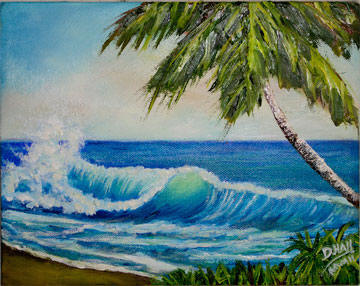 "Original Oil Painting,""Hawaiian Beach Wave"", by Hawaii Beach Artist Donald K Hall #420"
