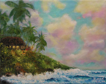 "Original Oil Painting,""Hawaiian Twilight"", by Hawaii Beach Artist Donald K Hall #423"