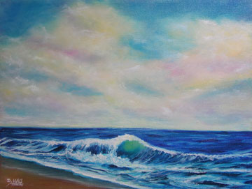 "Original oil painting ,""Twilight Wave"", by Hawaii artist Donald K. Hall #427"