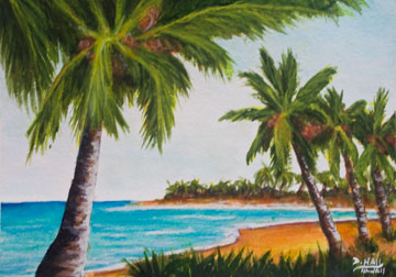 hawaiian Tropiocal bay, original water color  painting by hawaii artist Donald K. Hall #429