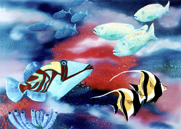 "Hawaii Art, Marinelife Hawaiian art ""escapade""  oil painting by Hawaii artist Donald K. Hall #42"