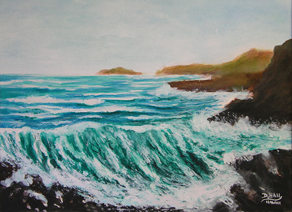 "Original Water Color Painting,""Hawaiian Big Surf and Wave"", by Hawaii Beach Artist Donald K Hall #434"