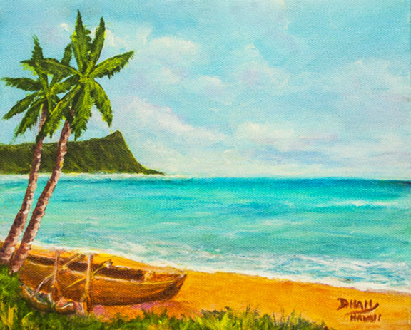 Hawaiian  Original Acrylic  painting, Art Painting,  Hawaiian Art, Tropical Art, Hawaii art Prints, Hawaii Artist Donald K. Hall #439