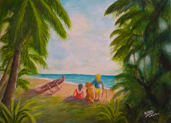 "Original Water Color Painting, ""Sunny Day at the Beach in Hawaii"",  No:440"
