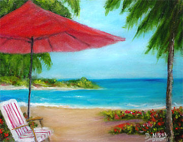 "Original Oil Painting,""Hawaiian Beach"", by Hawaii Beach Artist Donald K Hall #441"