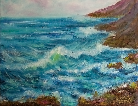 "hawaiian art prints, ""Oahu Easr Shoreline,"" Oil painting by Hawaii artist Donald K. Hall #454"