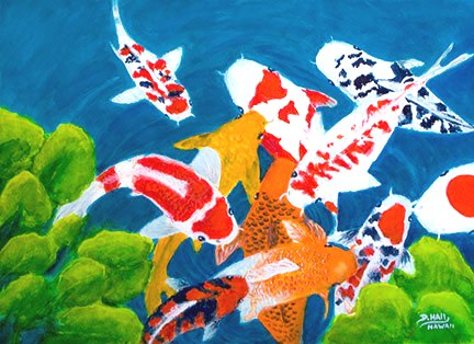 "Hawaii Art, ""Koi Fish"",Original Water Color Painting, by Hawaii Artist Donald K Hall #459"