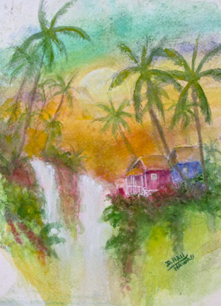"""Hawaii Cabin in the Valley,"" Water Color Painting and art prints  by Hawaii artist Donald K. Hall #460"