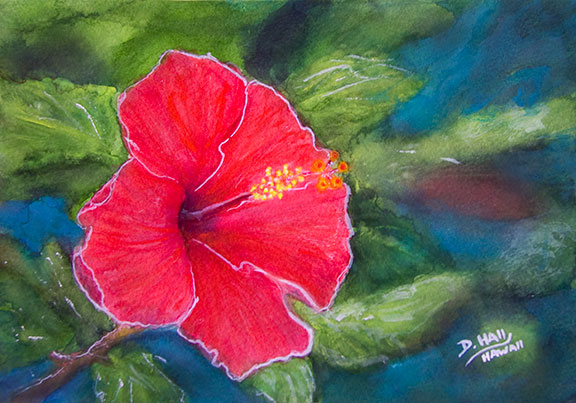 "Original Hawaii Art Water Color painting, ""Red Hibiscus flower"",  by  Hawaiian flower artist Donald K. Hall #463"