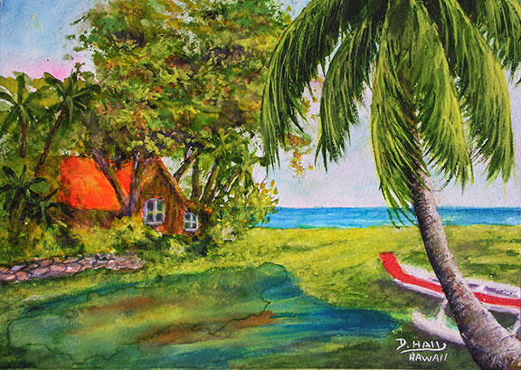 Home Sweet Hiome  original Water Color art painting by Hawaii artist Donald K. Hall #465