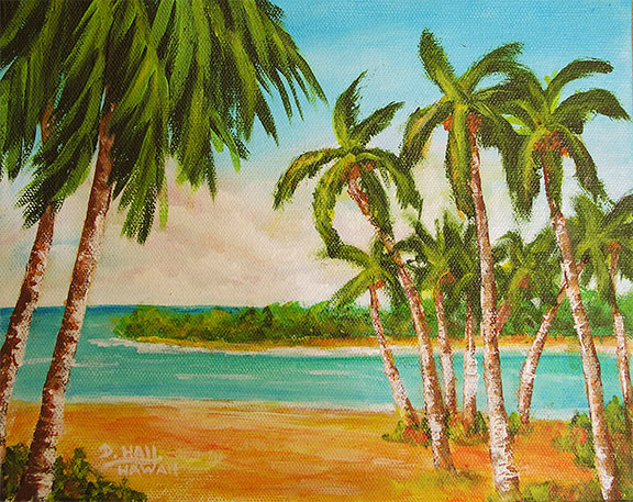 "Hawaii Art, ""Hawaii Tropical Bay"", original Acrylic painting by Hawaii Artist Donald k Hall #467"
