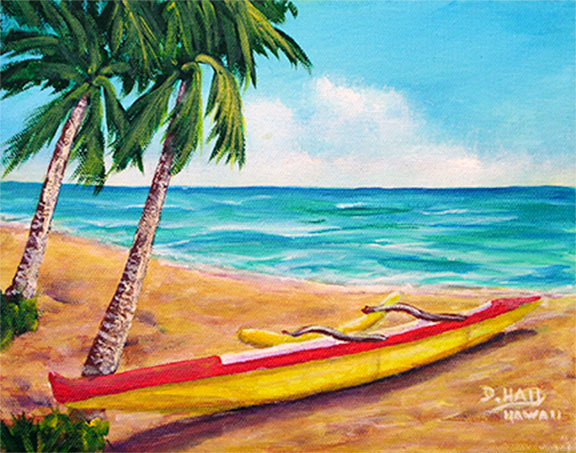 "Hawaii Beach Art, ""Hawaii Beach Outrigger Canoe"", original Acrylic painting by Hawaii Artist Donald k Hall #468"