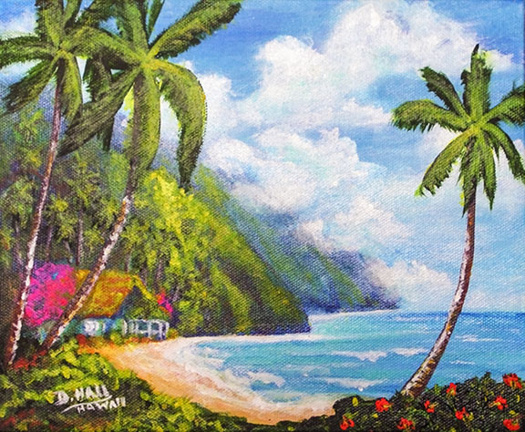 "Hawaii Art, ""Hawaii Hawaii Homestead"", Original Acrylic Painting by Hawaii Artist Donald k Hall #473"