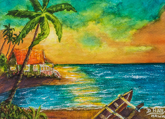 "Hawaiian Tropical  Beach Sunset,  "" Lilo's Place"", Original Water Caolor  Art Painting for sale No:475"