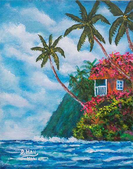 "Original  Acrilic Painting,""A Beautiful Day in Hawaat"", by Hawaii Beach Artist Donald K Hall #493"