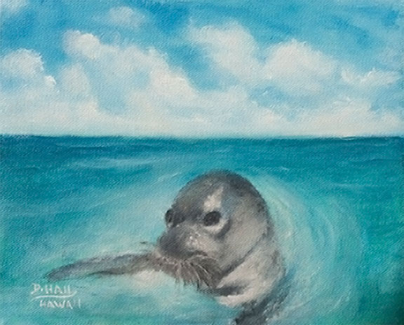 "Original Hawaii oil  Art Painting, ""Hawaiian Monk Seal,"" Oil Painting by Hawaii Marine Life Artist Donald K. Hall #498"