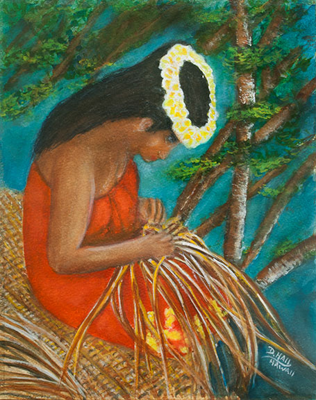 Hawaiian Weaver,  Water Color Art Painting and prints for sale No:500