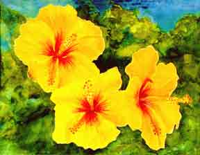 hawaii Art Print, Hibiscus Flower painting by hawaii artist Donald K. Hall #65