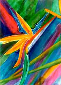 Bird of Paradise flower, hawaii tropical flowes  art prints, painting by hawaii artist Donald K. Hall #66