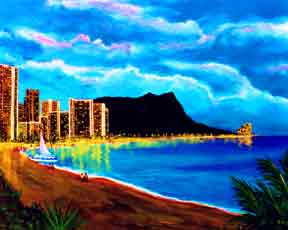 Hawaii art prints, hawaii landscape Diamond Head Wiakiki beach  painting by Hawaii artist Donald K. Hall #92